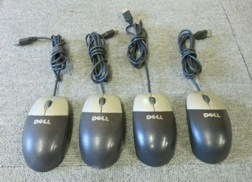 4 x Dell 0T0943 M-UVDEL1 Black & Silver USB Wired 3 Button Optical Scroll Wheel